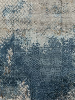 blue designer rug with transitional design