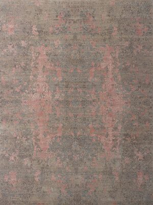 luxury rug with blue and pink transitional design