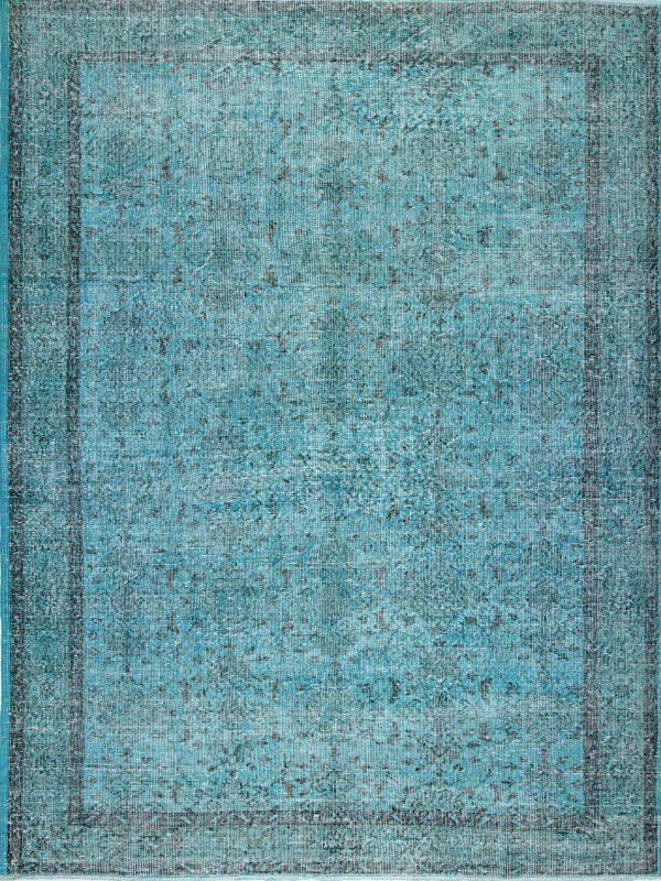 aqua blue vintage overdyed rug