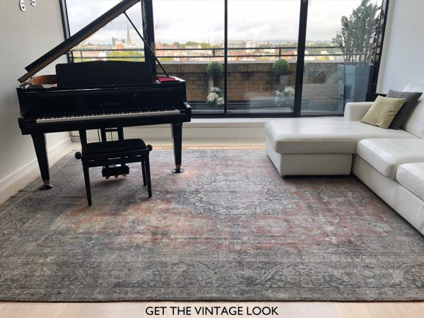 vintage rug with piano