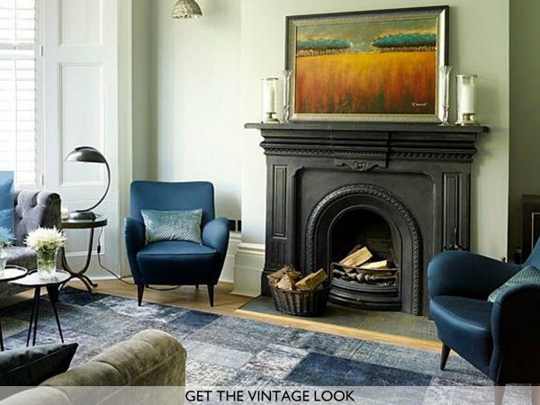 blue patchwork rug in living room