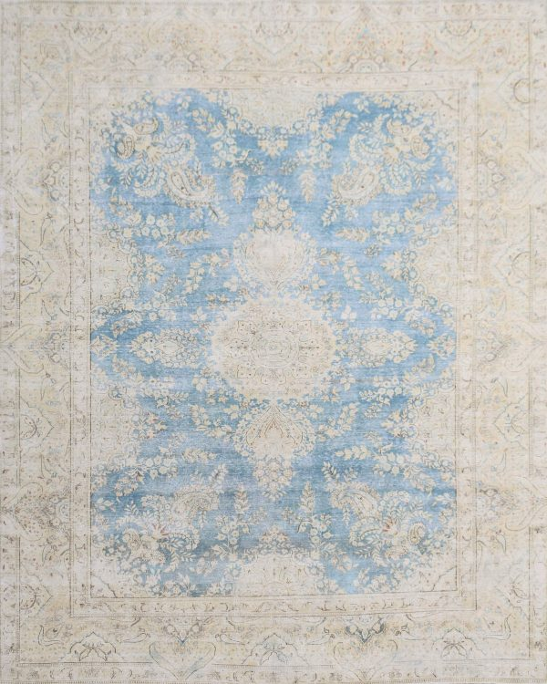 large vintage style classic rug blue and cream
