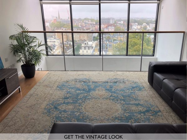blue persian rug on london penthouse