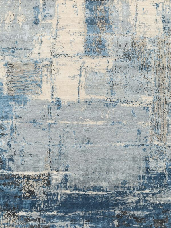 blue abstract designer rug with silk highlights
