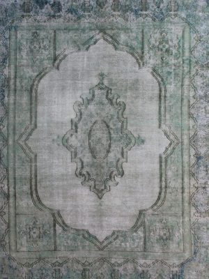 vintage overdyed rug green teal