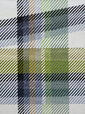 plaid tartan rug design with lime green