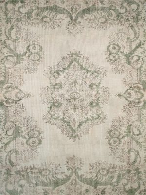 vintage style rug with green
