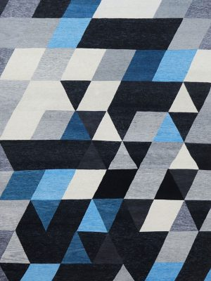 blue and grey geometric rug