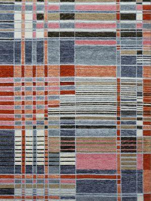 modern rug with multi coloured blocks