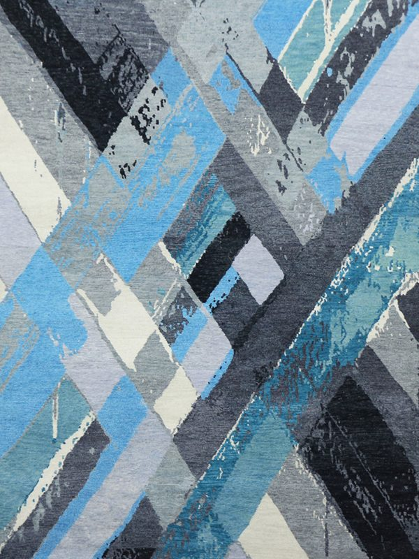 modern rug with blue diamond design