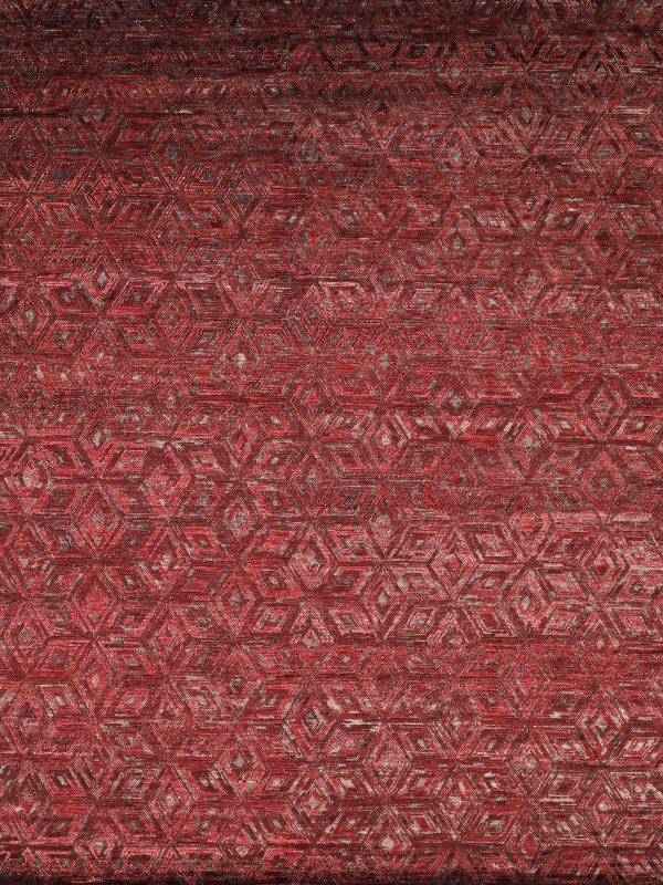 burgundy red geometric rug
