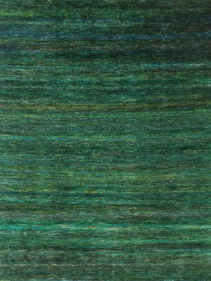 green sari silk rug with tribal stripes