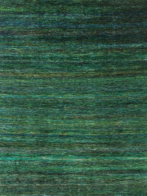 green sari silk rug with tribal stripes