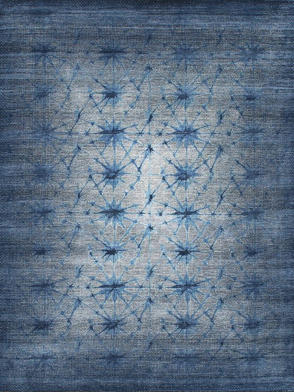 blue abstract design luxury rug