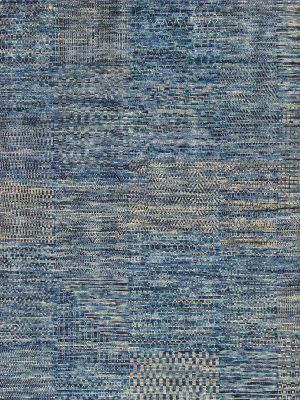 blue hand knotted wool rug