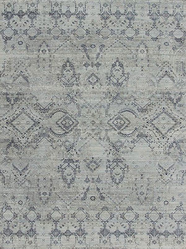 blue and grey transitional rug design