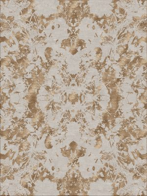 copper hand knotted rug with wool and silk