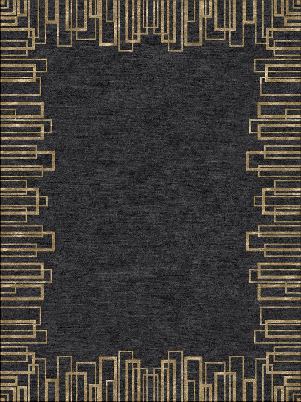 black contemporary rug with gold geometric border