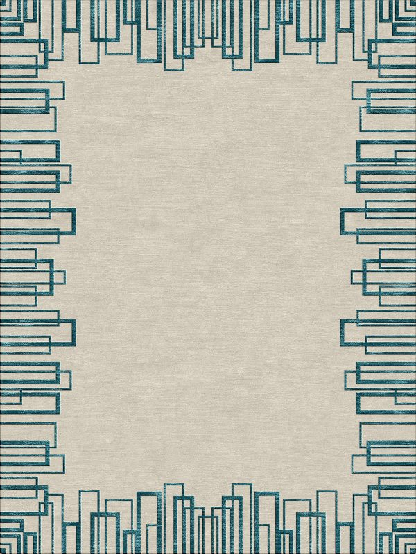contemporary rug with geometric border in teal