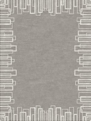 contemporary border design rug with grey wool and silver silk