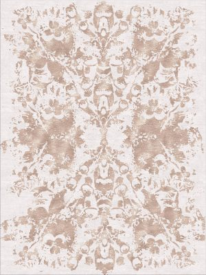 contemporary rug with dusty pink silk design