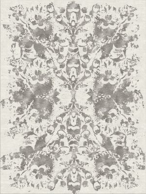 luxury rug with silver contemporary design