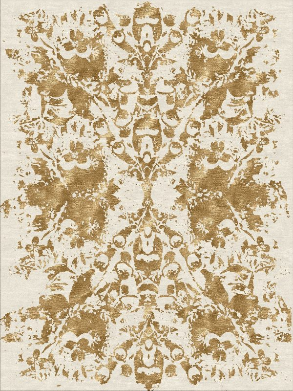 contemporary rug with gold silk on cream wool