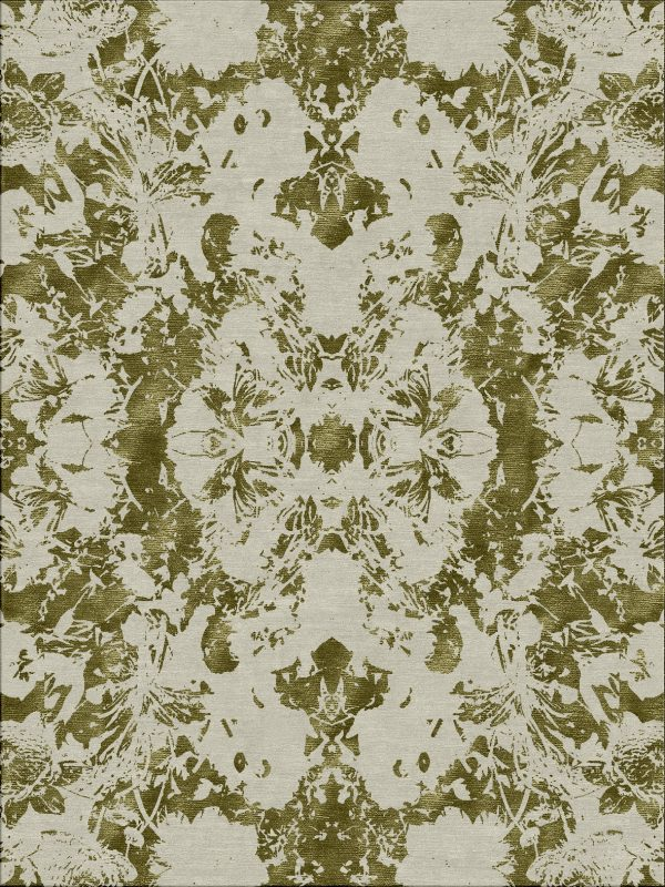green hand knotted contemporary rug