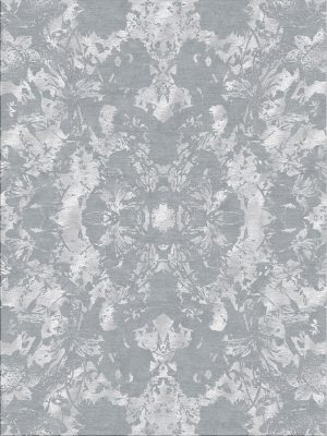 silver wool and silk rug with contemporary design