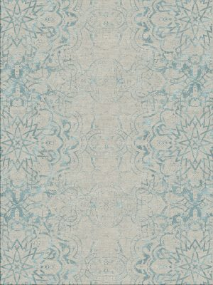 contemporary rug with blue design