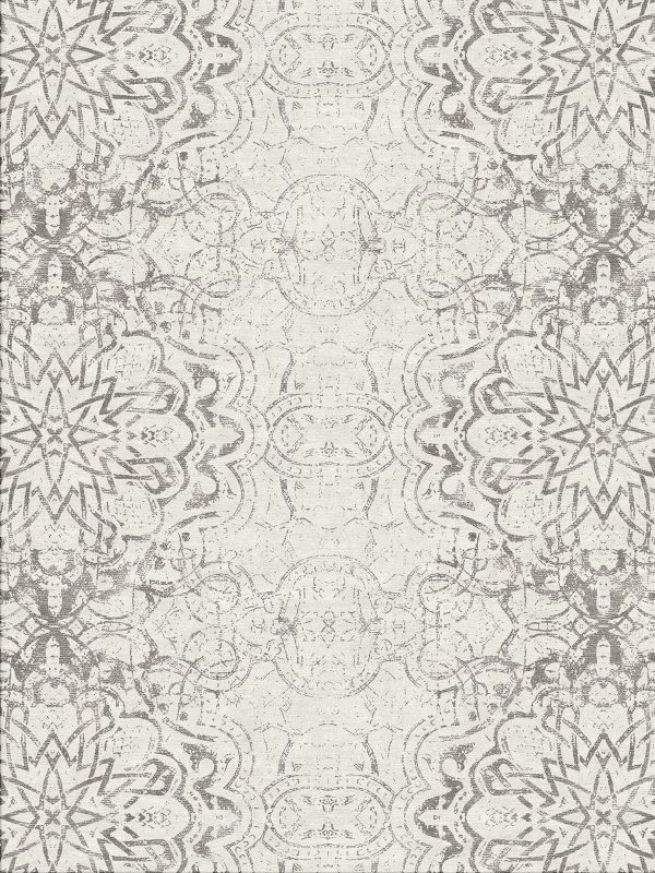 contemporary hand knotted rug with arabic inspired design in silver