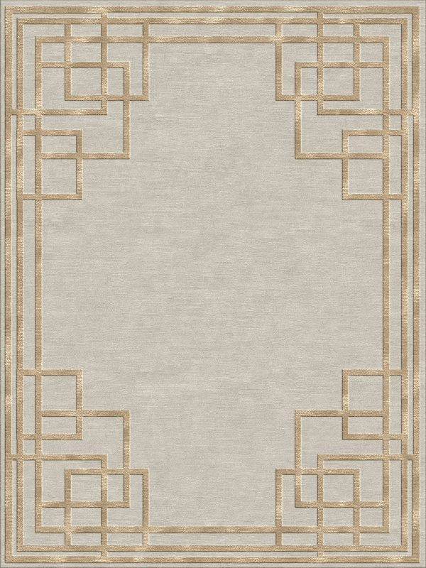geometric art deco rug with gold silk
