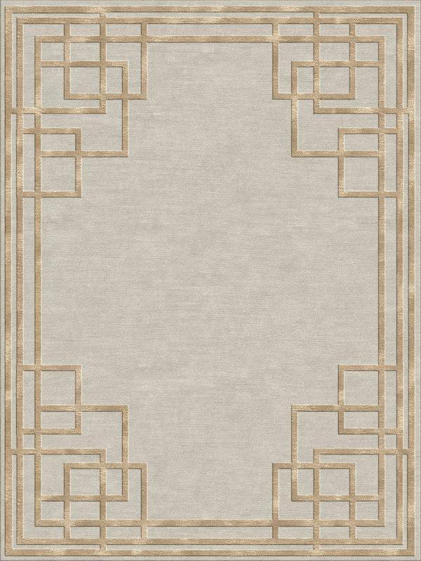 geometric art deco rug with gold silk