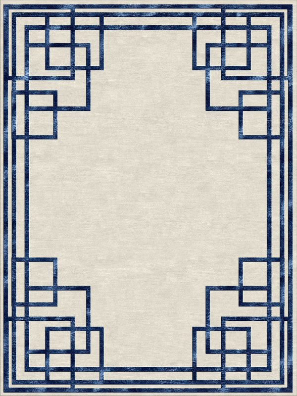 art deco style contemporary rug with blue silk border