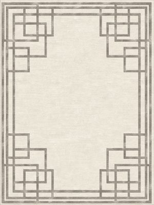 contemporary rug with art deco style border in gold silk