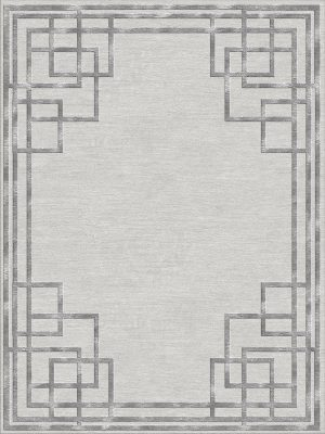 silver contemporary rug with art deco style border design