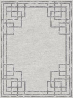 silver contemporary rug with art deco style border design