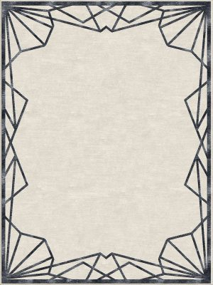 art deco style rug with black border design