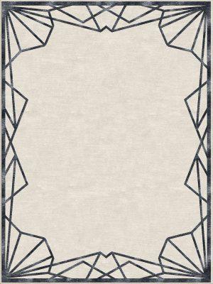 art deco style rug with black border design