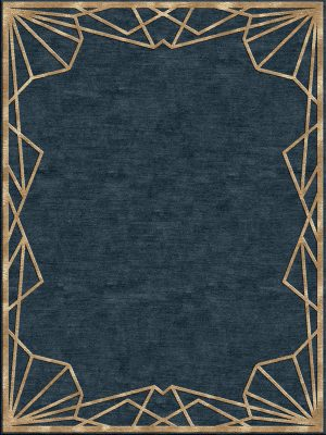 navy blue contemporary rug with gold border