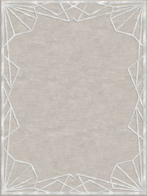 contemporary rug with silk silk art deco border