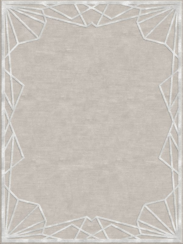 contemporary rug with silk silk art deco border
