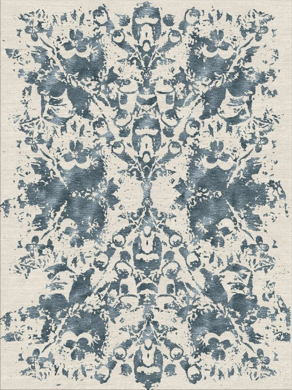 contemporary hand knotted rug with blue slate design