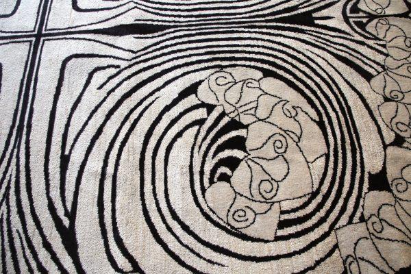 Black and White Art Nouveau Rug Close up