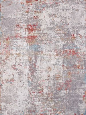 modern abstract rug with orange