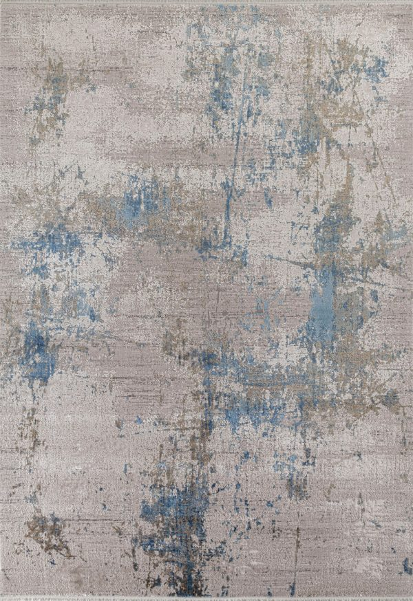 blue modern abstract rug