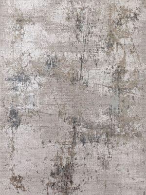 grey abstract modern rug in bamboo silk