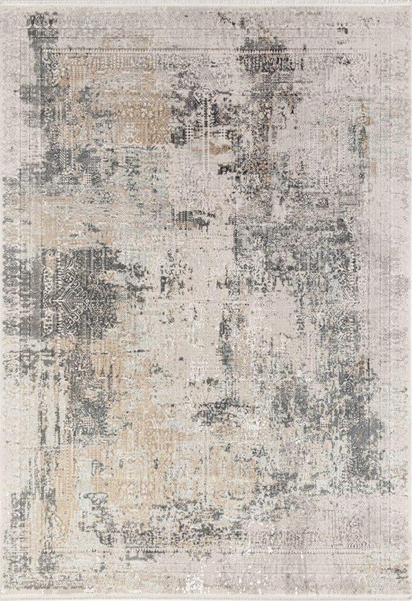 grey modern rug with transitional design