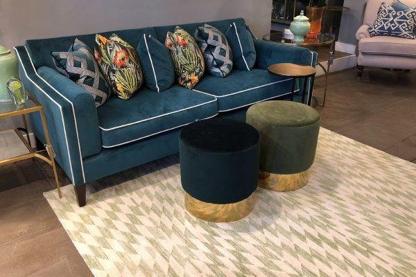 green geometric flatweave rug
