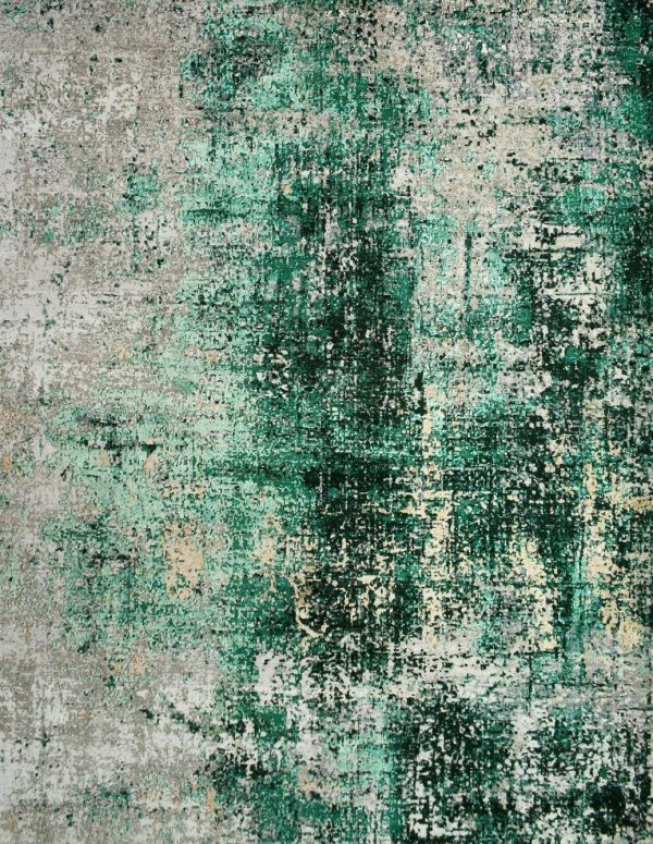 green wool and silk abstract luxury rug